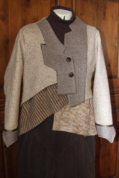 Diane Ericson fault line pattern. Front lapels are recycled men's sportcoat. Vest is made from recycled sweaters
