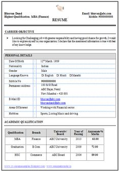 Template For Curriculum Vitae Professional Curriculum Vitae  Resume Template For All Job