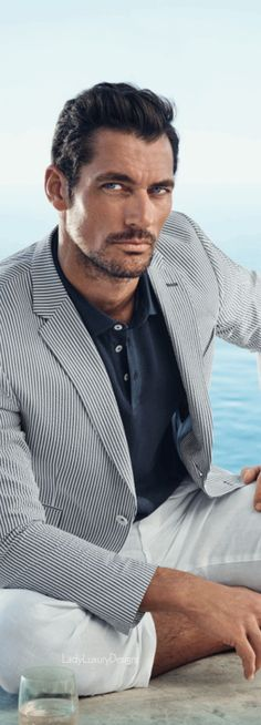 Love the seersucker suit, oh, and David Gandy too! - LADY LUXURY : Photo