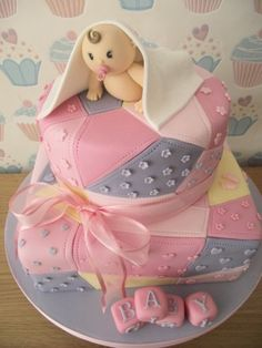 Patchwork baby shower cake