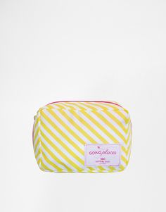 Shop Going Places Yellow Stripe Toiletry Bag at ASOS. Holiday Packing Lists, Packing List For Travel, Travel Bags, Best Travel Accessories, Bag Accessories, City Break Packing, Business Trip Packing, Travel Cubes, Wash Bags