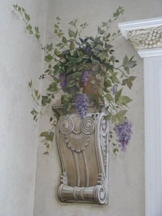 mural of potted plant Faux Painting, Mural Painting, Wall Paintings, Art Decor, Decoration, Grisaille, Mural Wall Art, Wall Treatments, Fresco