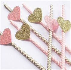 Set Of 24 #PartyStraws, #PinkAndGold, Glitter Hearts, Shower Straws, #Chevron Straws, Wedding Decorations, by #JaclynPetersDesigns - Custom Colors Available