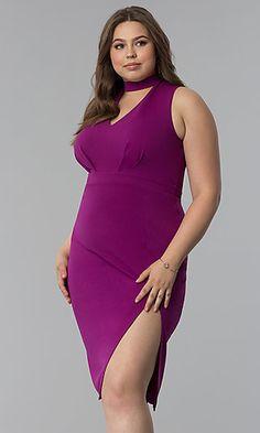 ed52a315b Short Plus-Size Choker-Collar Party Dress