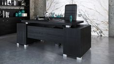 Contemporary Office, Modern Desk, Black Desk, Black Wood, White Executive Desk, Wood Office Desk, File Cabinet Desk, White Quartz Counter, Large Desk