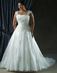 Since strapless styles arent recommended for large busted plus size brides, you can have sleeves or straps added. Ask the salesperson to show you different looks.  Repin Now!