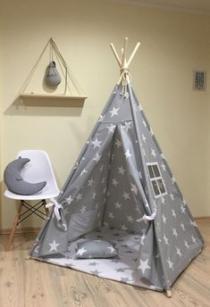Tipi Play Tent Teepee Cozy Grey Stars Kids Teepee by letterlyy Diy Tipi, Kids Tents, Teepee Kids, Teepees, Camping Info, Childrens Teepee, Teepee Play Tent, Painting For Kids, Children Painting