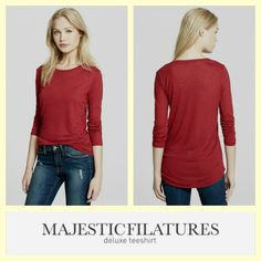 Majestic Filatures Paris  $50 deep red soft modal/cashmere long sleeve knit tee sz.2/M #buynow www.tpopshop.nyc
