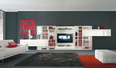White TV and Books Cabinet