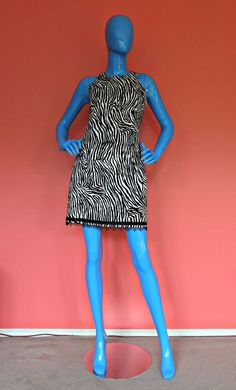 Vintage 80's Dance Competition Dress 4 S XS Slim Fit Mini Open Back Zebra Beads #GeorgiuStudio #SlimFitMini #DanceStage
