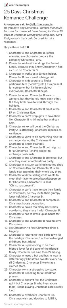 25 days of Christmassy romance prompts