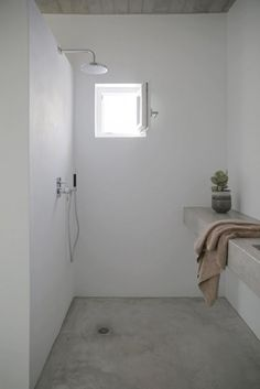 there's no better cover for a shower than concrete, it's mildew resistant and thermal shock resistant
