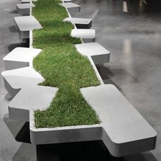 Bench with grass - nice way to bring the outside in / repinned on toby designs