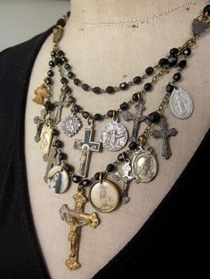 """The Prayer"". Vintage necklace, statement necklace, rosary beads, crucifix."