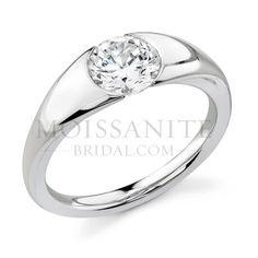 Check out the deal on Half Bezel Designer moissanite engagement ring at MoissaniteBridal.com