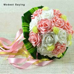 Find More Wedding Bouquets Information about Ivory and Pink Artificial Wedding Flowers Bouquets 2017 New Fashion Plastic Rose,Romantic Bridal bouquets Wedding Decoration,High Quality bridal bouquet,China wedding flower bouquet Suppliers, Cheap bridal bouquet wedding from modest saying Lacebridal Store on Aliexpress.com