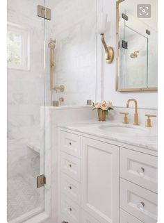White and gold master bathroom