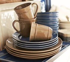 Cambria Dinnerware, 16-Piece Cereal Bowl Set - Ocean Blue | Love ...