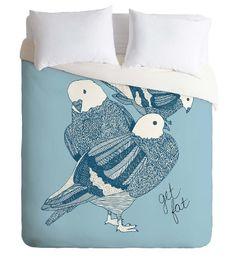 Blue Pigeons Duvet Cover / Twin, King Queen Size Duvet / Pigeon Blanket / Pigeon Duvet / Kids Room Blanket / Birds Bedding / Boys Duvet