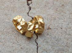 Sculptural Hearts wide 14k 18k gold wedding band ring | 14 18 karat gold | custom size | women's ring | Berman Designers #gold #gold_heart #heart #hearts #wedding #love #kitsch #18k