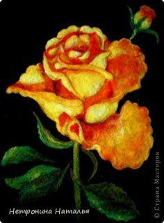 Картина панно рисунок 8 марта Валяние фильцевание Рисую картины шерстью - Желтая Розочка Шерсть