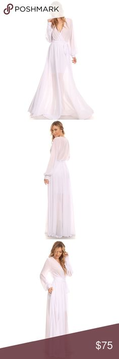 All White Chiffon Long Maxi Dress Medium Stunning Chiffon Maxi Dress lined to mid thigh, top of dress is sheer would need to wear an undergarment flesh to skin tone or cami. Comes with wrap around belt attached. Machine wash, hang dry. YourFashionFrenzy Dresses Maxi