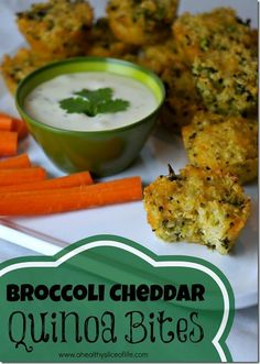 Broccoli Cheddar Quinoa Bites I've often shared that Hailey's meals (at almost years old!) are fairly simple. I like to include a protein source, a carb (bonus if it's a vegetable) and some healthy fat in each meal as often as possible. Healthy Toddler Meals, Healthy Snacks For Kids, Kids Meals, Toddler Food, Healthy Lunches, Baby Food Recipes, Cooking Recipes, Healthy Recipes, Toddler Recipes
