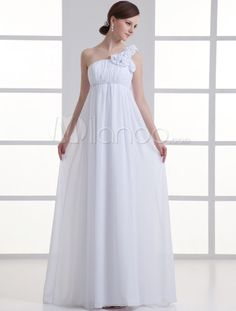White Sheath One-Shoulder Floral Chiffon Bridal Wedding Dress - Milanoo.com