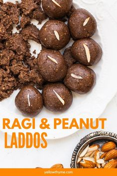 Ragi Laddu, also called Nachni Laddoo,made with Finger millet flour Easy Indian Recipes, Indian Dessert Recipes, Healthy Dessert Recipes, Sweet Recipes, Easy Desserts, Dinner Recipes, Recipe Using Quinoa, After Workout Snack, Condensed Milk Desserts