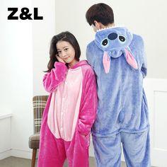 15e31d8367 kigurumi warm flannel stitch lilo Cute cartoon animal stitch long sleeve  hooded animal pajamas Whole adult women pijama stich