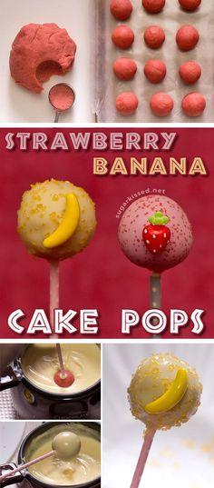 Cake pops you can really go bananas for! Easy recipe for making strawberry banana cake pops.
