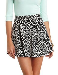 Tribal Print Pleated Skater Skirt: Charlotte Russe