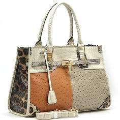 FRONT VIEW  Many colours and textures on this Chic Print Handbag..Beautiful interior colours. More colours to choose from