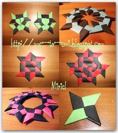 Modular Origami Ninja Star Folding Instructions - How to Make an Origami Ninja Star or Origami Shuriken Origami Star Box, Origami Ball, Origami Love, Origami Fish, Origami Design, Origami Stars, Origami Flowers, Origami Paper Folding, Modular Origami