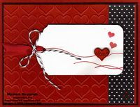 "Handmade Valentine card using Stampin' Up! products - Hello Life Photopolymer Stamp Set, You Brighten My Day Stamp Set, Happy Heart Embossing Folder, Stacked with Love Designer Series Paper Stack, Ornate Tag Topper Punch, Project Life Corner Punch, Itty Bitty Accents Punch Pack, Baker's Twine, and 1/4"" Cotton Ribbon.  By Michele Reynolds, Inspiration Ink, http://inspirationink.typepad.com/inspiration-ink/2015/01/you-brighten-my-day-love-lines-tag.html."