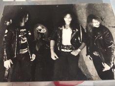 MAYHEM: Euronymous, Dead (wearing an ASPHYX T-Shirt!), Hellhammer, Necrobutcher