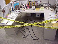 funny office desk crime scene prank