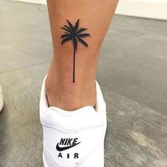 Small Palm Tree Tattoo Ankle Design 30 Super Ideas - My list of the most creative tattoo models Pretty Tattoos, Cute Tattoos, Leg Tattoos, Tattoos For Guys, Tattos, Awesome Tattoos, Anklet Tattoos, Arabic Tattoos, Beautiful Tattoos