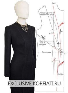 2a7968f6e70 Моделирование выкройки платья с вытачками и рельефами - Корфиати