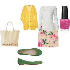 yellow cardigan with floral print skirt..., created by shycoygirl65 on Polyvore
