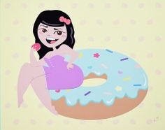 Donut PinUp Print - Unicorn Crafts