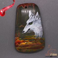 Gemstone Pendant Hand Painted Wolf Natural  ZL805733 #ZL #Pendant