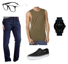 """""""No. 012"""" by fullmoonforest on Polyvore featuring Vans, Lacoste, Chip & Pepper, Nixon, Volcom, men's fashion and menswear"""