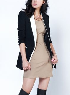 Slim Turn-down Collar Solid Color Blazer
