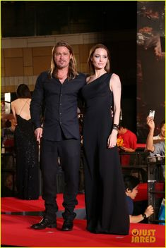 Angelina Jolie and Brad Pitt hit the red carpet at the premiere of his latest film World War Z on Monday evening (July 29) in Tokyo, Japan