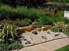 sand/pebble pit for construction play, etc. ideas to add this space into your yard.