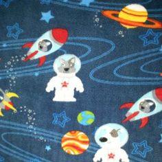 Anti- Pill Fleece Fabric- Dog In Space