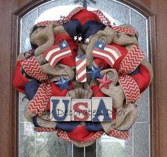 Burlap Patriotic Wreath - Memorial Day - Fourth of July -  American Flag Wreath on Etsy, $75.00