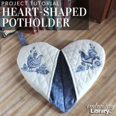 Add a little love to your cooking with a heart-shaped potholder; tutorial from Embroidery Library. Add a little love to your cooking with a heart-shaped potholder; tutorial from Embroidery Library. Easy Sewing Projects, Sewing Projects For Beginners, Quilting Projects, Sewing Hacks, Sewing Tutorials, Sewing Crafts, Potholder Patterns, Sewing Patterns, Crochet Patterns
