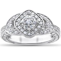Bliss 14k White Gold 3/4ct TDW Diamond Cluster Halo Vintage Engagement Ring (I-J, I2-I3) (Size 4), Women's (solid)